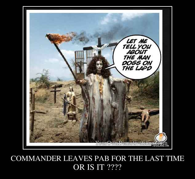 COMMANDER LEAVES PAB FOR THE LAST TIME