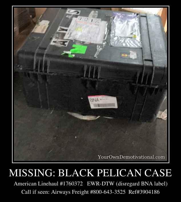 MISSING: BLACK PELICAN CASE