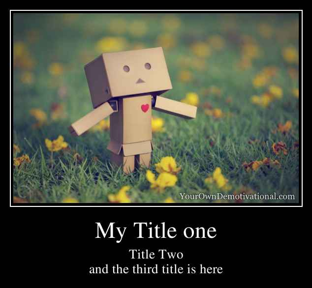 My Title one