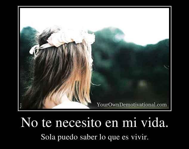 No Te Necesito En Mi Vida